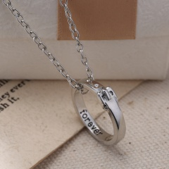 Forever  Women Silver Ring Chain Pendant Choker Necklace Jewelry New Silver