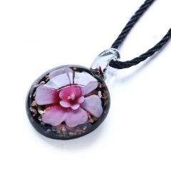 New Women Round Lampwork Murano Glass Pendant Necklace Chain Charm Jewelry Gift Pink
