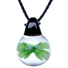 Charm Murano Lampwork Glass Ladybug Flower Pendant Necklace Jewelry Gift Green