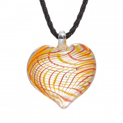 Fashion Women Heart Handmade Flower Lampwork Murano Glass Circle Pendant Necklace Yellow