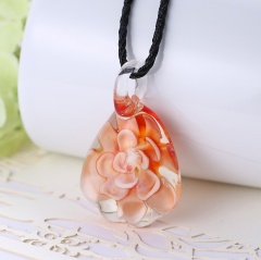 Gold Foil Drop Flower Lampwork Glass Murano Pendant Necklace Women Jewelry Gift Orange