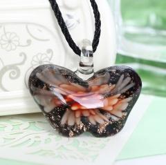 Women Butterfly Foil Drop Flower Lampwork Glass Murano Pendant Necklace Women Jewelry Gift Orange