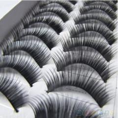 10 Pairs Makeup Handmade Natural Thick False Eyelashes Long Eye Lashes Extension Black 10Pairs