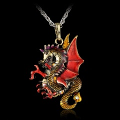 Jewelry Dragon Fire Long Sweater Chain Charm Crystal Necklace Pendant Retro Gift Red