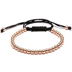 Rinhoo Trendy Handmade Brand Men Bracelet Macrame Jewelry 4mm Copper Beads Braided Strand Woven Charm Bracelets & Bangles for Men Women Rose gold