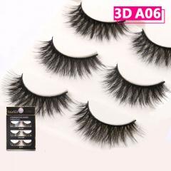 3D Mink Eyelashes 3 Pairs Natural False Fake Long Thick Handmade Lashes Makeup 3 Pairs