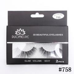 2 Pairs Makeup Handmade Natural Thick False Eyelashes Long Eye Lashes Extension #758/2Pairs