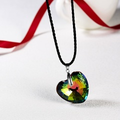 Women Charm Crystal Heart Crystal Necklace Pendant Leather Jewelry Party Best Gift Love Heart
