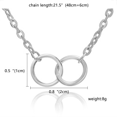 Fashion Round Circle Necklace Charm Chain Women Jewelry Party Gift Silver Circle(No Card))