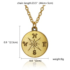 Fashion Gold/Silver Compass Pendant Necklace Chic Jewelry Costume Party Gift Gold(No Card)