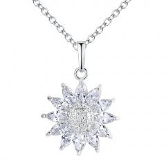 925 Silver Chic Women Sun Flower Zircon Pendant Necklace Chain  Jewelry Gifts Silver