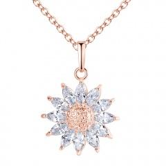 Elegant 925 Silver Zircon Flower Necklace Pendant Charm Chian Women Jewellery Rose Gold