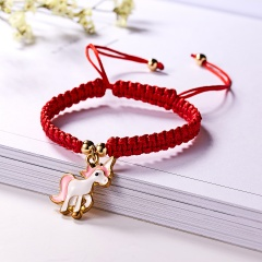 Lucky Red String Thread Horse Bracelets Pink Blue White Horse Charm Women Handmade Girls Friendship Jewelry Gift with Card PINK HORSE