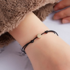 Gold Color Butterfly Heart Cross Bracelet Handmade Crown Charm Bracelets Multicolor Rope Adjustable String Lucky Bracelet BLACK