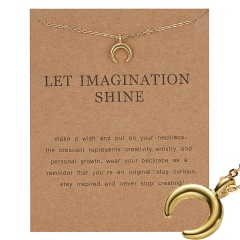 Gold Plated Moon Note Charms Pendant Chain Necklace Women Girls Jewelry Gifts Let imagination shine