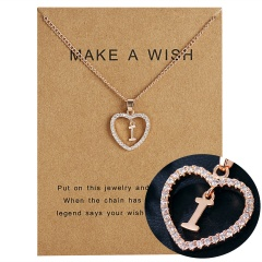 G-K Letter Crystal Heart Necklace Pendant Sweater Women Charm Jewellery H