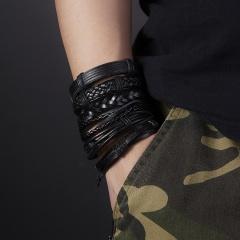 6PCS/SET Vintage Leather Bracelets For Women Punk Bible Leather Bracelet & Bangle Male Wristband Wrap Men Jewelry Bracelet 1