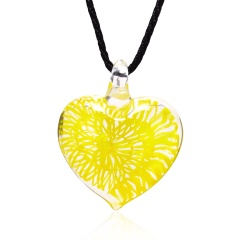 Transparent heart-shaped spiral pattern glass necklace yellow