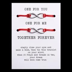 paper card braided adjustable bracelet set Infinite Red