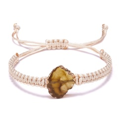 Fan-Shaped Natural Stone Drusy Charm Bracelets For Women Men Handmade Elastic Rope Bracelet Wristband Bohemia Jewelry YELLOW