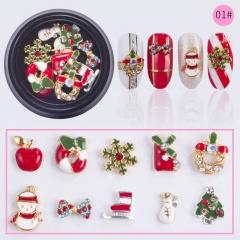10Pcs 3D Christmas Nail Art Decal Transfer Sticker Splendid Manicure Accessories 01#
