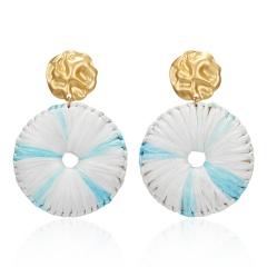 Bohemian Handmade Raffia Tassel Round Drop Earrings For Women Ethnic Gradient Multicolor Large Fringe Statement Earrings Blue