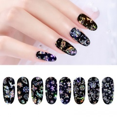 1set (4 pcs) Mixed Christmas Star Stickers Heat Transfer Nail Stickers Black