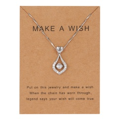 Smart Water Drop Zircon Pendant Rhinestone Wish Paper Card Necklace for Women Clavicle Chain water drop