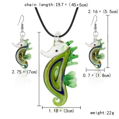 Decorated seahorse pendant glass necklace earring set green