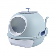 Fully Enclosed Splash-Proof Cat Litter Box Blue