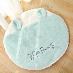 Cartoon Hit Color Full Wool Round Mat Cat Litter Green
