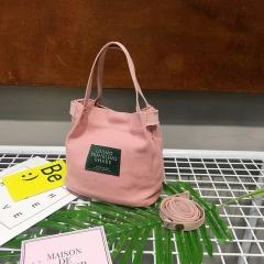 Ladies Canvas Portable Diagonal Casual Small Cloth Bag Pink