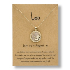 Fashion Gold Charm Necklace Daytime Twelve Constellation Paper Card Alloy Pendant Necklace Jewelry Leo