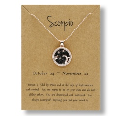 Fashion Rose Gold Charm Necklace Black Night Twelve Constellation Paper Card Alloy Necklace Scorpio