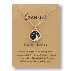 Fashion Rose Gold Charm Necklace Black Night Twelve Constellation Paper Card Alloy Necklace Gemini