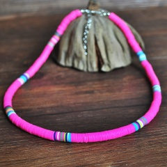 Fashion Soft Clay Beach Bohemian Elastic Necklace Jewelry rose red