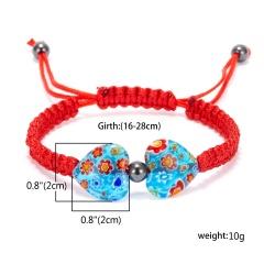 Heart Shaped Morano Glass Flower Woven Bracelet Sky blue - red rope