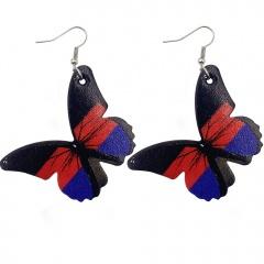 Imitation Butterfly Leather Alloy Ear Hook Earrings Style 3