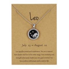 12Constellation Pendant Necklace Night Zodiac Sign Star Silver Choker Leo