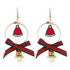 Christmas Snowman Bowknot Hat Elk Bell Earrings Hat