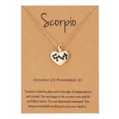 12 Constellation Heart Gold Chain Pendant Necklace Jewelry Scorpio