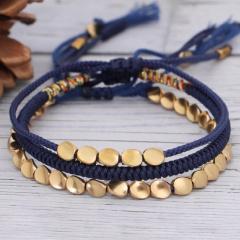 3 Pieces/Set Red Handmade Gold Brass Adjustable Bracelet Set Wholesale Blue